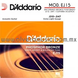 D´Addario Mod.EJ15 encordado de bronce fosforado para guitarra acústica (.010-.047)