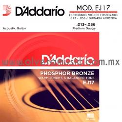 D´Addario Mod. EJ17 encordado bronce fosforado para guitarra acústica (.013-.056)