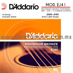 D´Addario Mod.EJ41 encordado de bronce fosforado para guitarra acústica 12 cuerdas (.009-.045)